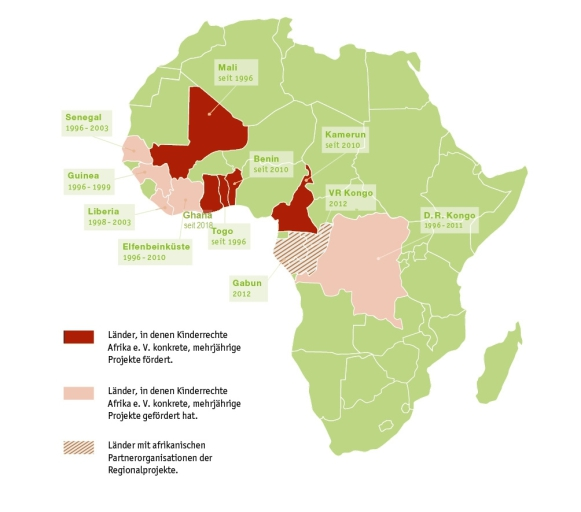 Projektlandkarte Kinderrechte Afrika e. V.